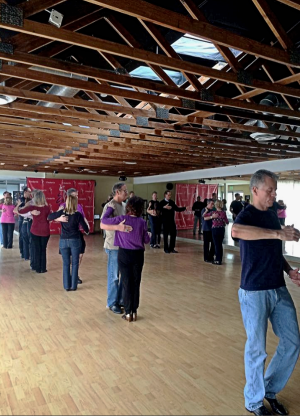 Sonny Watson's Intermediate 'West Coast Swing Master series Practice Class' in Tarzana, California.